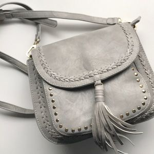 Grey Faux Leather Studded Crossbody Bag w Tassel